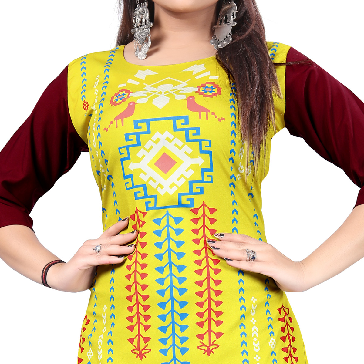 Gorgeous Yellow Colored Casual Printed Crepe Kurti