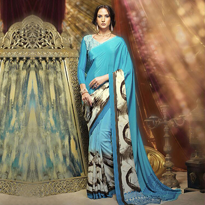 Blue Digital Printed Silk Crepe Saree