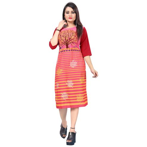 Glorious Pink Colored Casual Printed Crepe Kurti
