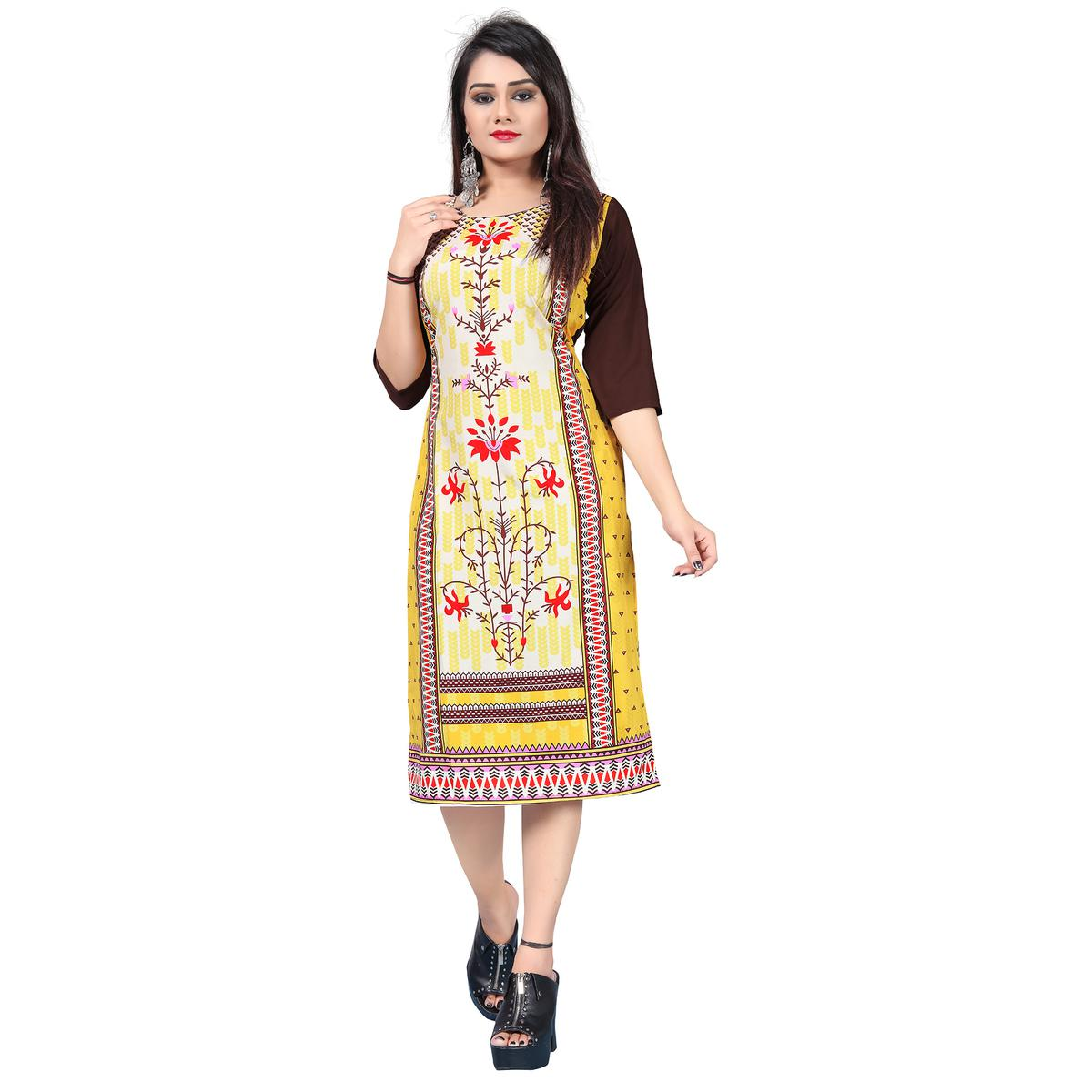 Graceful Light Yellow Colored Casual Printed Crepe Kurti