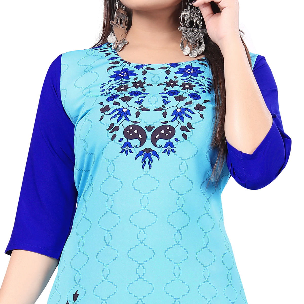 Lovely Sky Blue Colored Casual Printed Crepe Kurti
