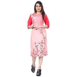 Pretty Light Pink Colored Casual Printed Crepe Kurti