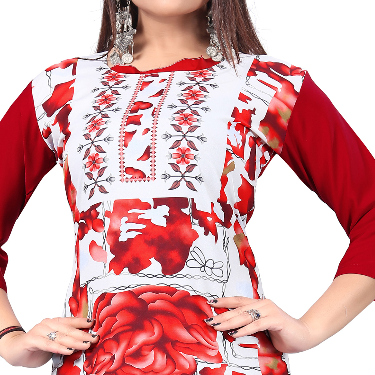 Charming White-Red Colored Casual Printed Crepe Kurti