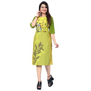 Ravishing Green Colored Casual Printed Crepe Kurti