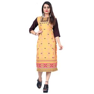 Delightful Yellow Colored Casual Printed Crepe Kurti