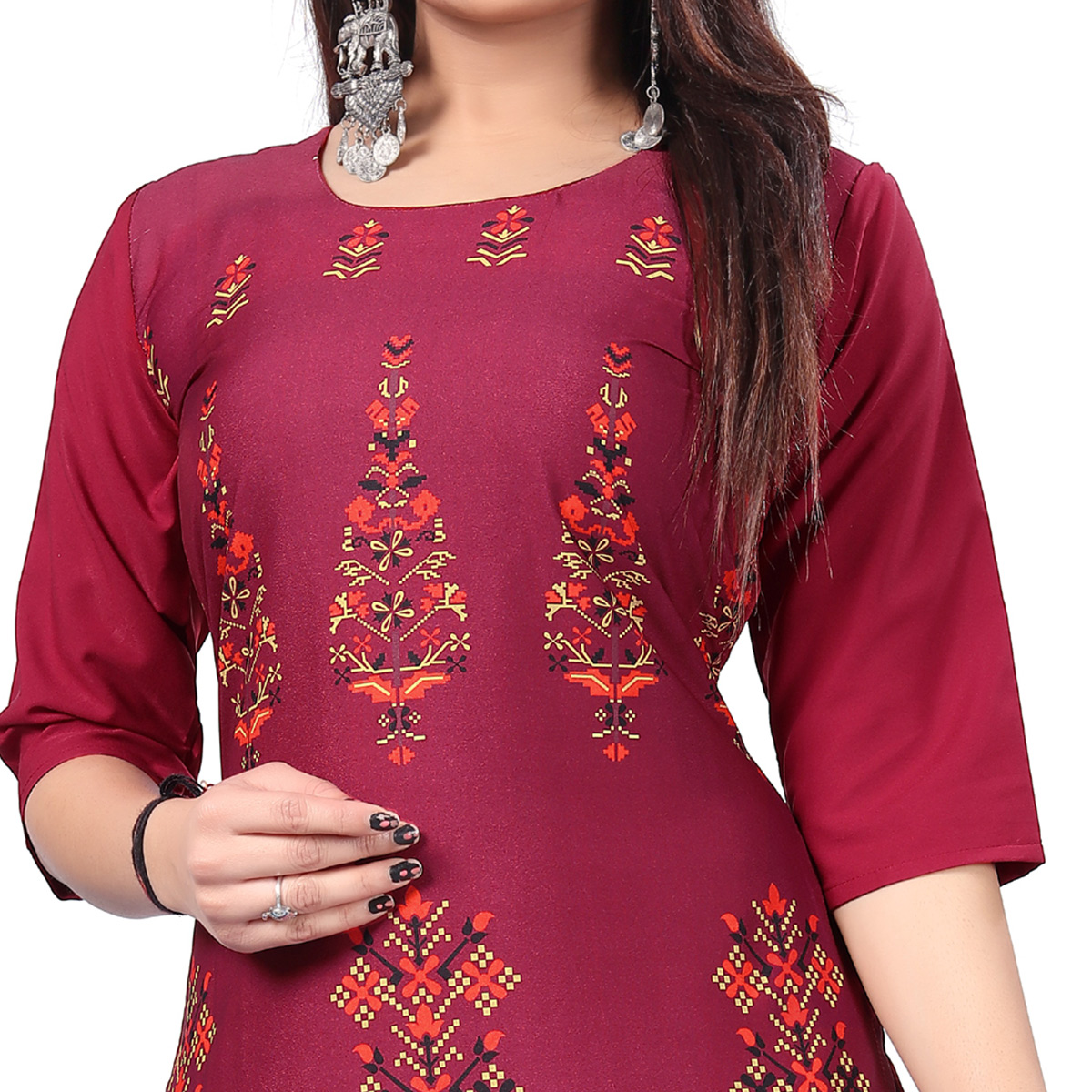 Stunning Magenta Pink Colored Casual Printed Crepe Kurti