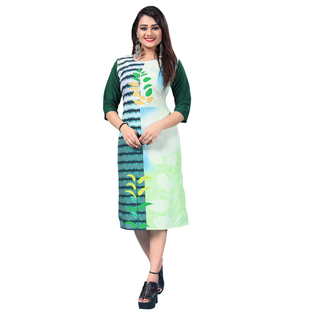 Blooming Green-White Colored Casual Printed Crepe Kurti