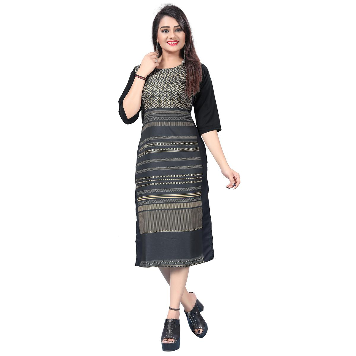 Marvellous Gray Colored Casual Printed Crepe Kurti