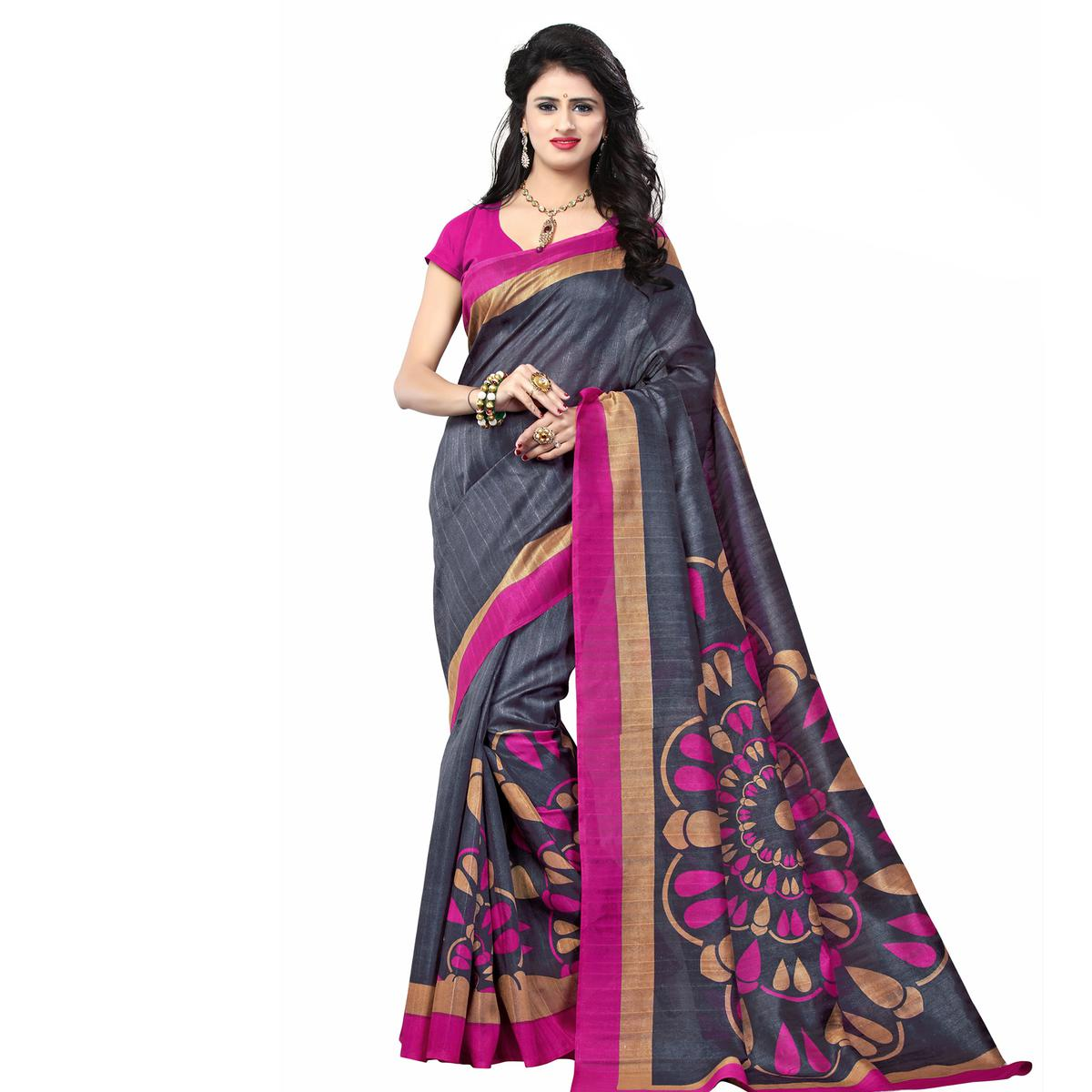 Dark Grey Printed Bhagalpuri Silk Saree