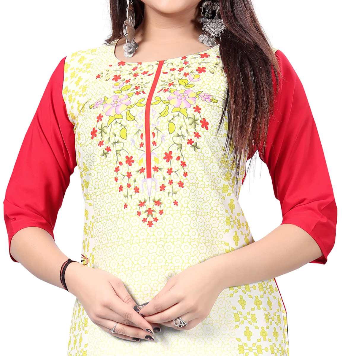 Eye-catching White Colored Casual Printed Crepe Kurti