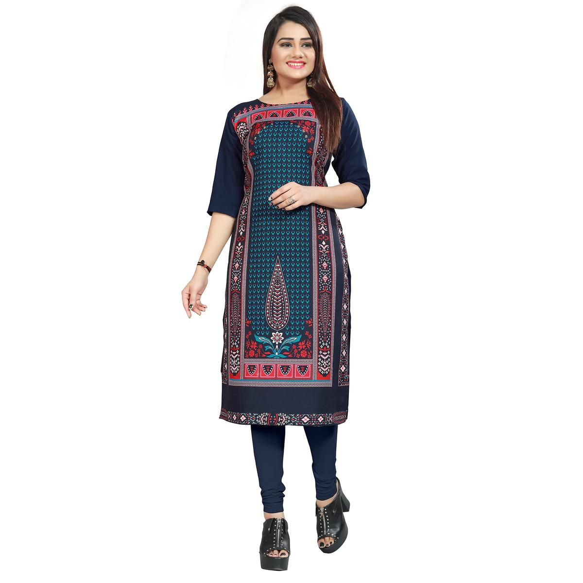 Amazing Navy Blue Colored Casual Printed Crepe Kurti