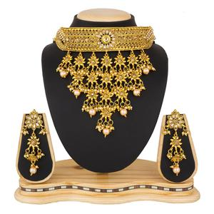 Gorgeous Golden Colored Stone Work Mix Metal Necklace Set