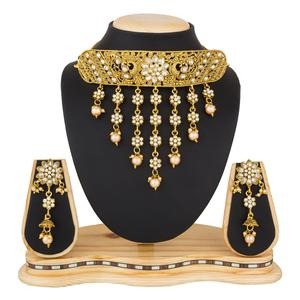 Classy Golden Colored Stone Work Mix Metal Necklace Set