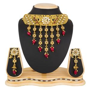 Lovely Golden Colored Stone Work Mix Metal Necklace Set