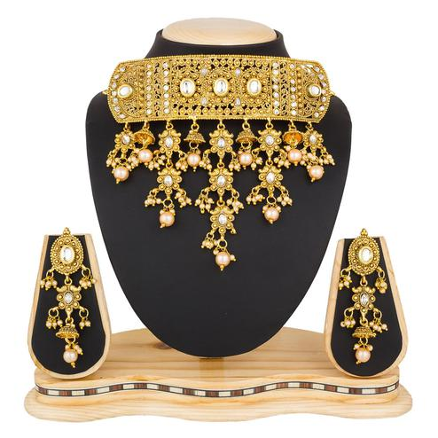 Pretty Golden Colored Stone Work Mix Metal Necklace Set