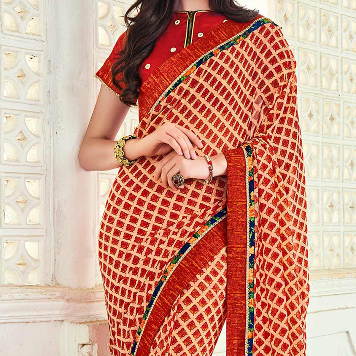Red Print & Border Work Georgette Saree