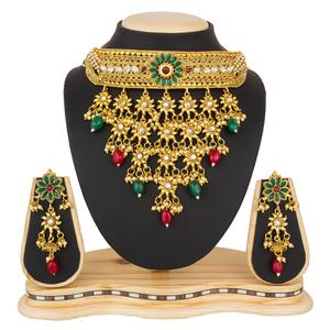Delightful Golden Colored Stone Work Mix Metal Necklace Set