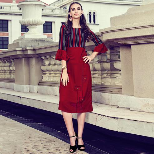 Beautiful Maroon Colored Casual Printed Rayon Kurti
