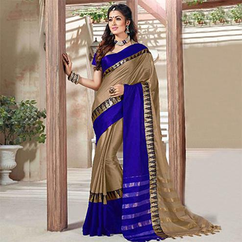 Beige - Blue Traditional Wear Saree