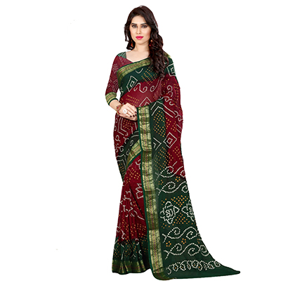 Olive Green - Red Bhandej Saree