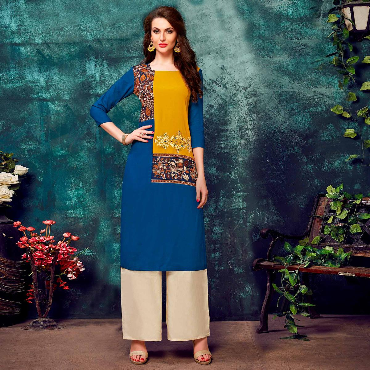 Lovely Royal Blue Colored Partywear Printed Rayon Kurti
