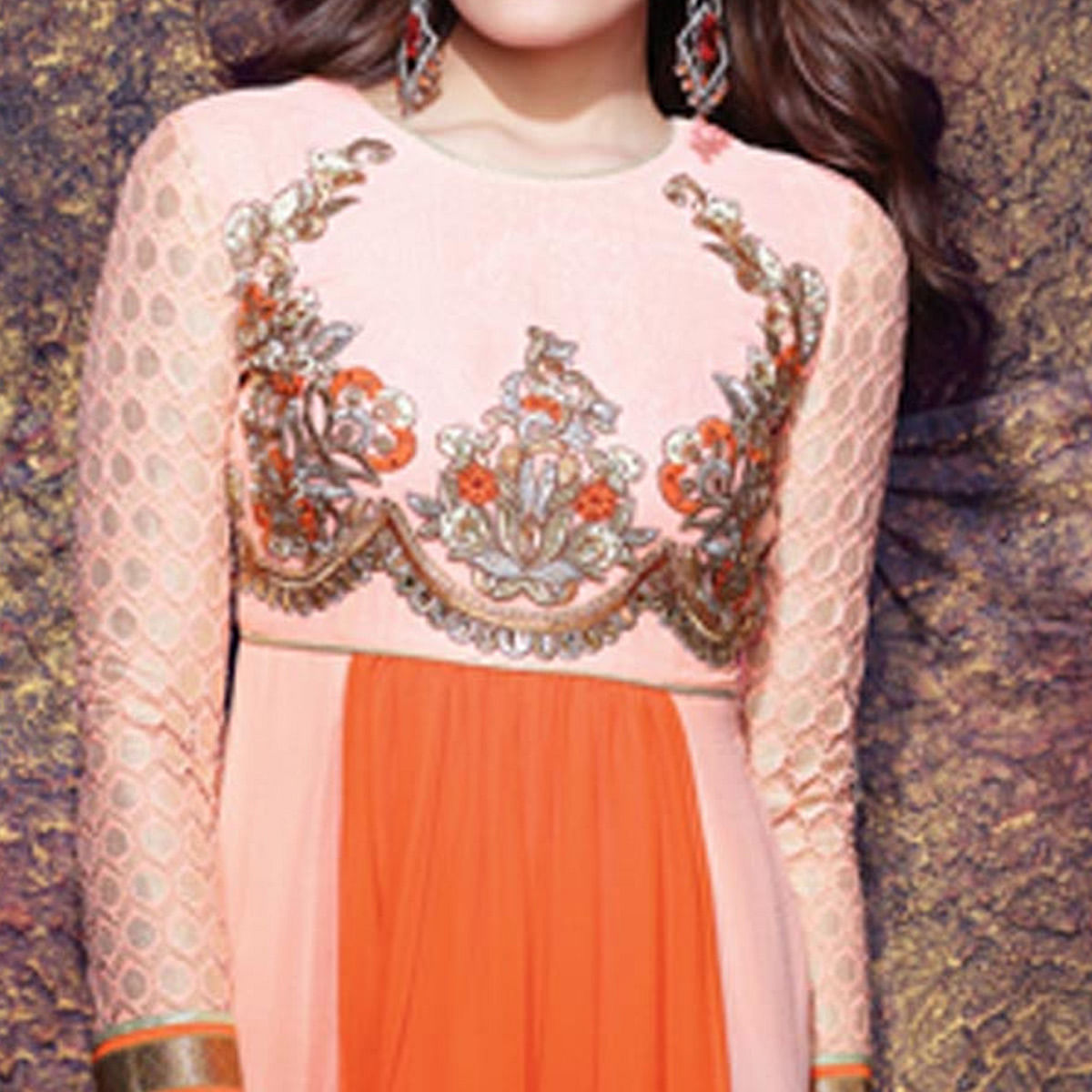 Ravishing Peach - Orange Colored Party Wear Embroidered Kurti