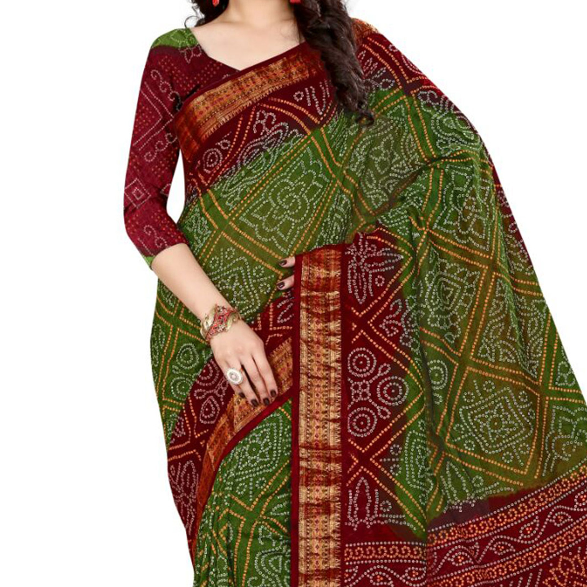 Green - Red Traditional Wear Saree