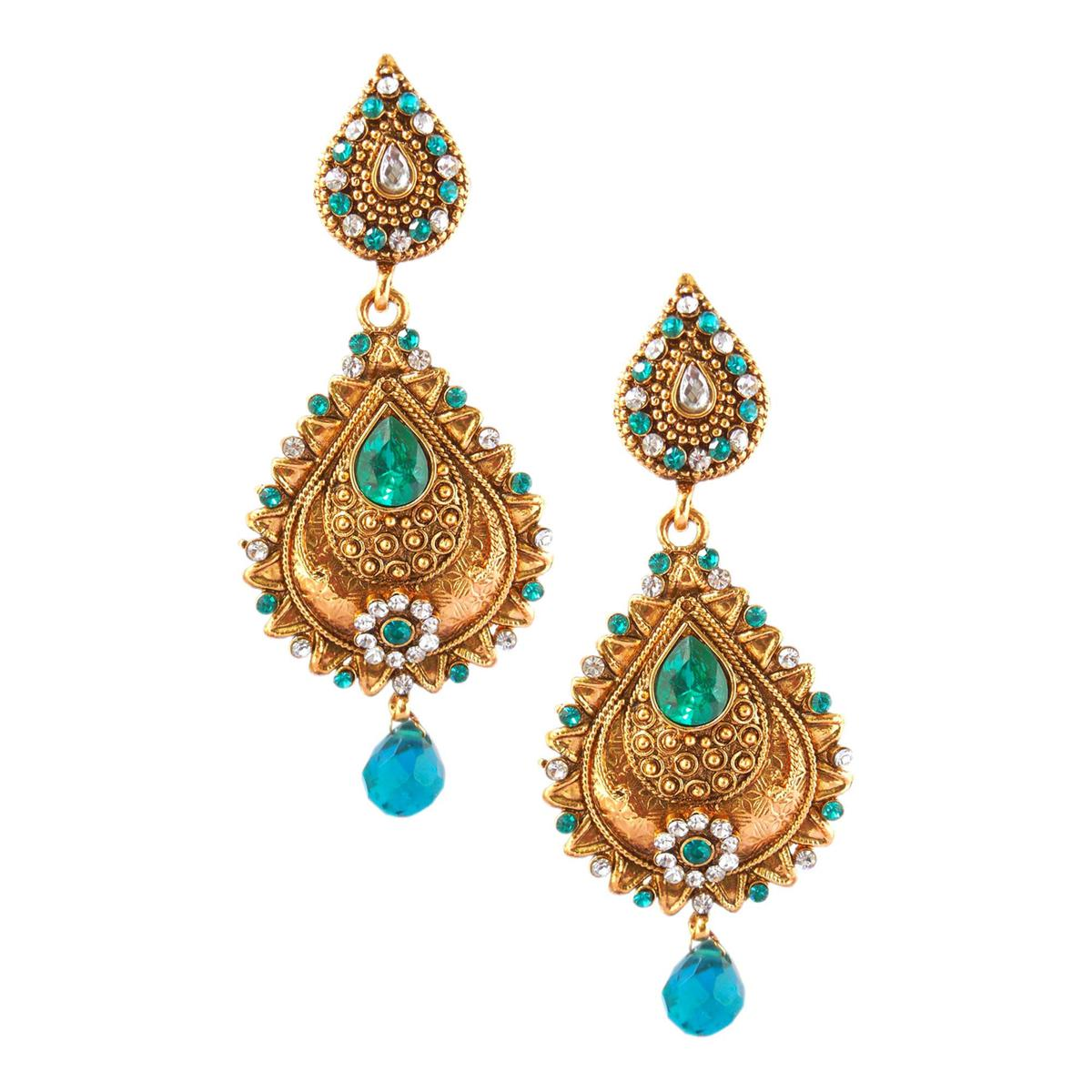 Adorning Blue Colored Party Wear Stone Work Alloy Earring