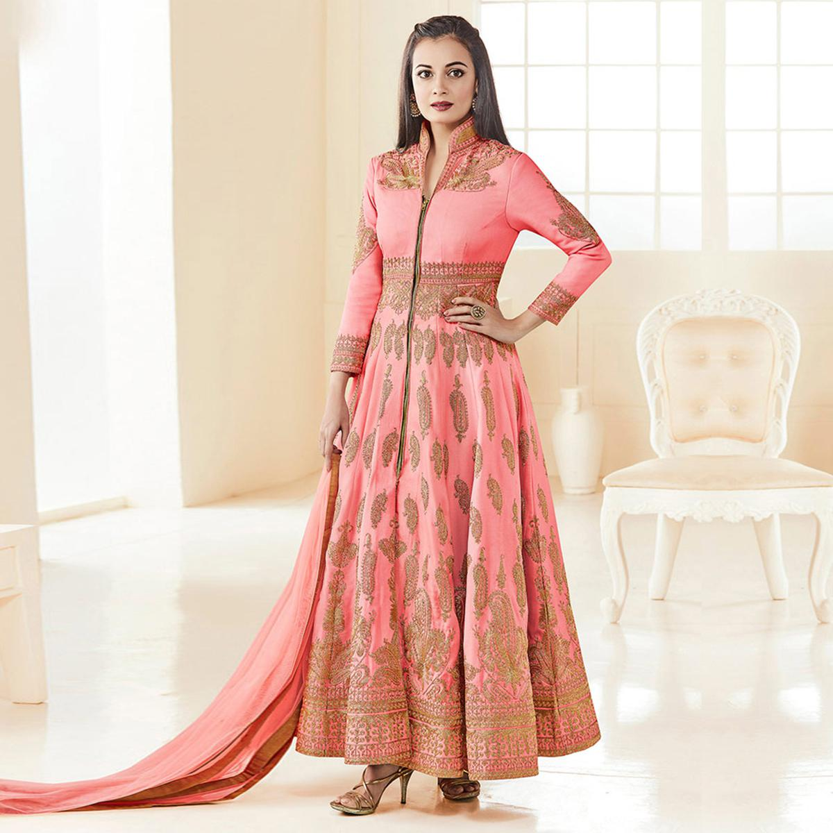 Adorable Peach Colored Party Wear Embroidered Banglori Silk Anarkali Suit