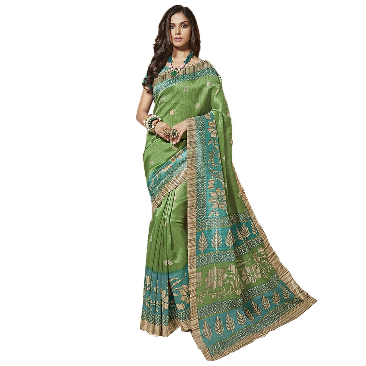 Adorning Green Colored Casual Wear Printed Bhagalpuri Silk Saree