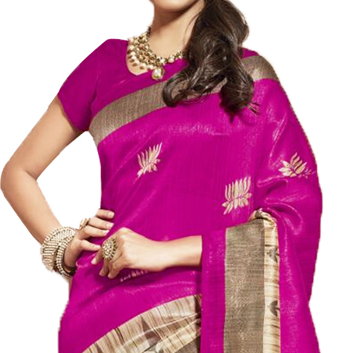 Alluring Pink Colored Casual Wear Printed Bhagalpuri Silk Saree