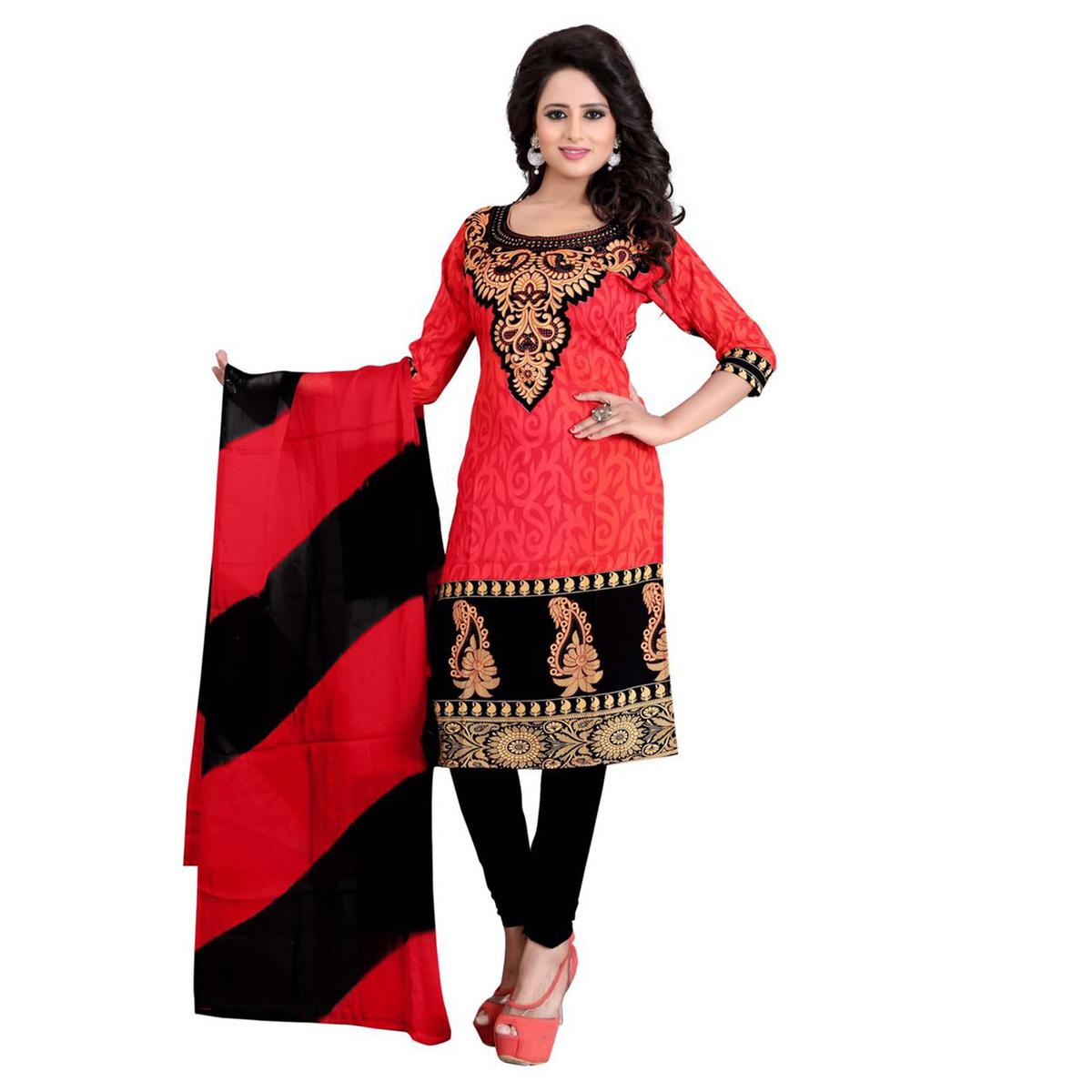 Glorious Red Colored Casual Wear Printed Crepe Dress Material