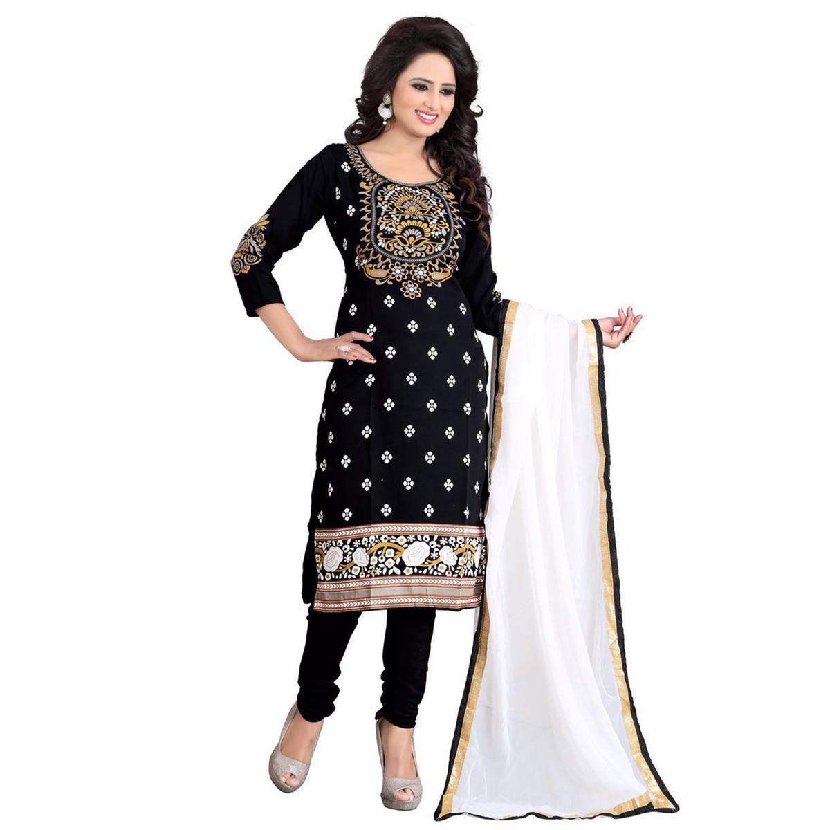 1f816f476b Buy Capricious Black Colored Casual Wear Printed Crepe Dress Material for  womens online India