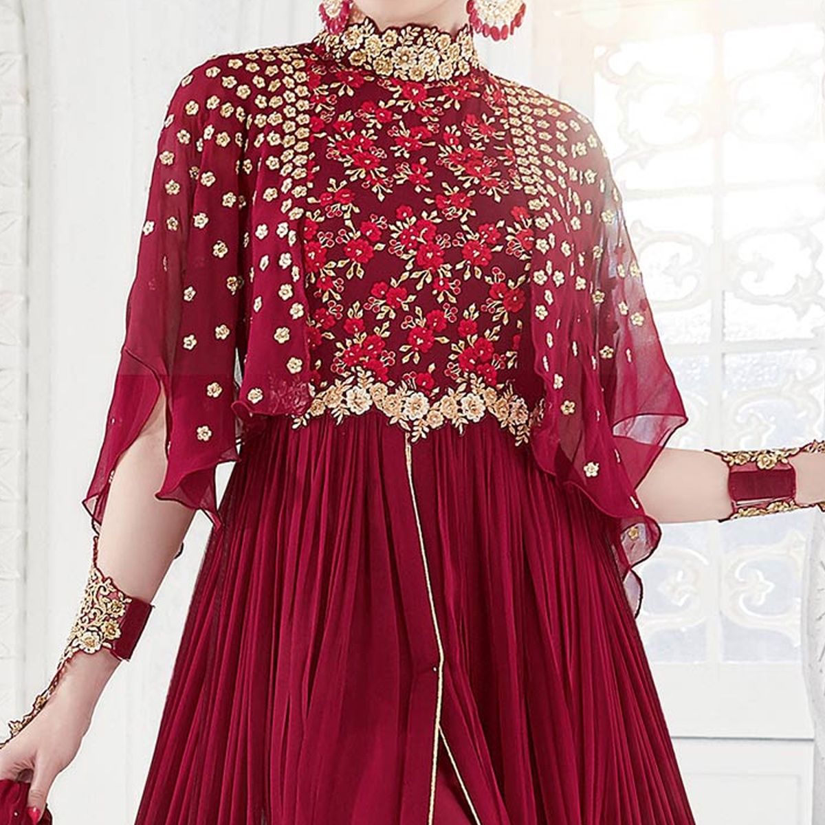 Blooming Maroon Colored Party Wear Embroidered Georgette Anarkali Suit