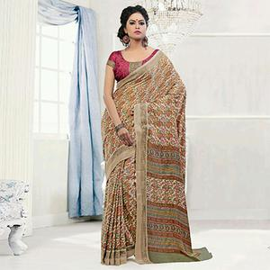 Beige - Brown Office Wear Saree