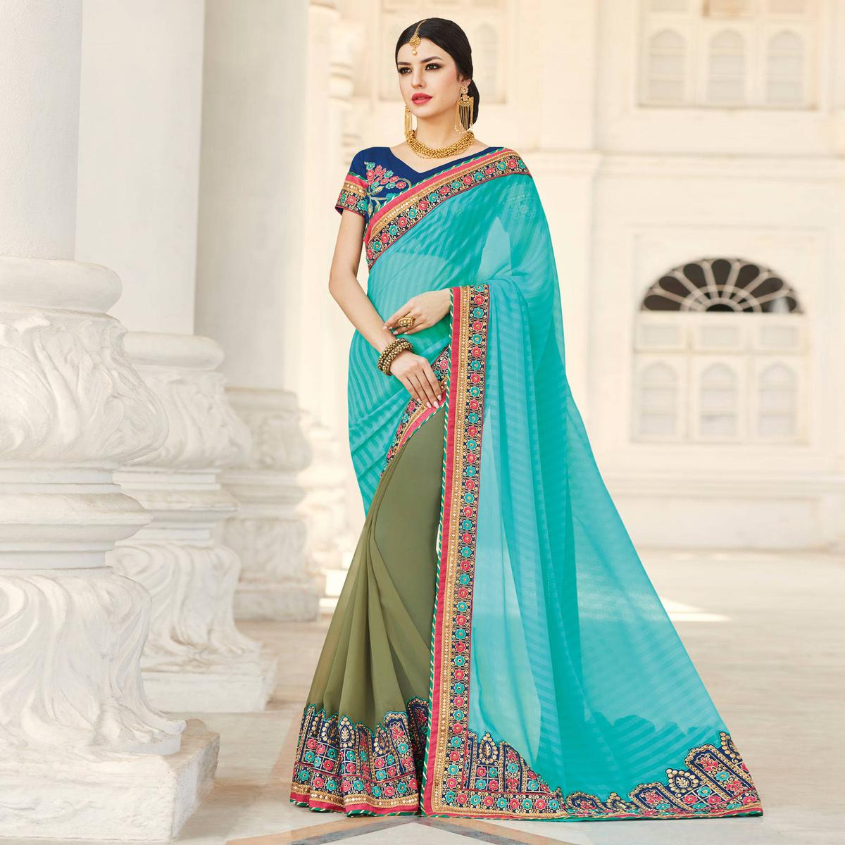 Preferable Olive Green - Blue Colored Party Wear Embroidered Georgette Saree