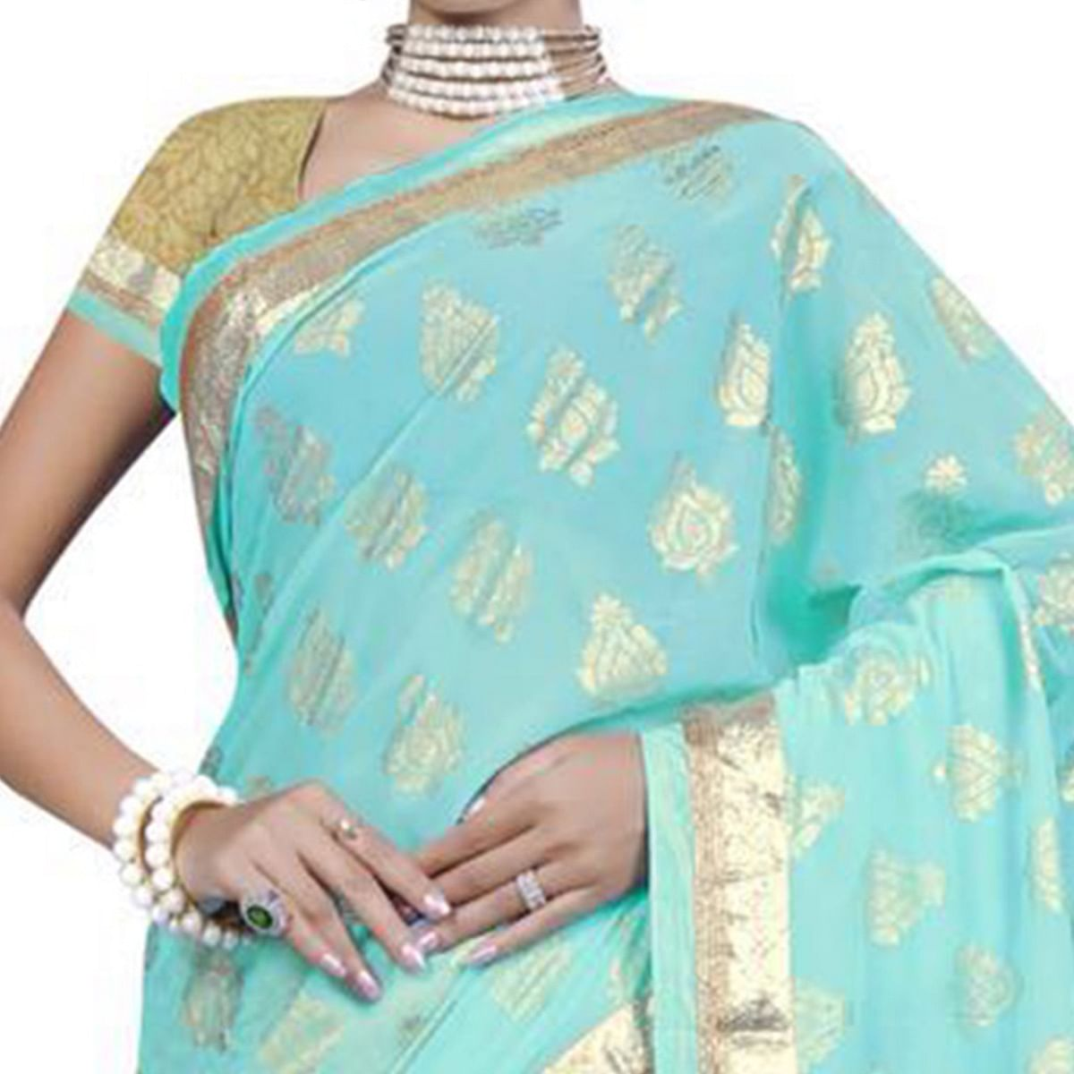 Surpassing Sky Blue Colored Party Wear Printed Georgette Saree