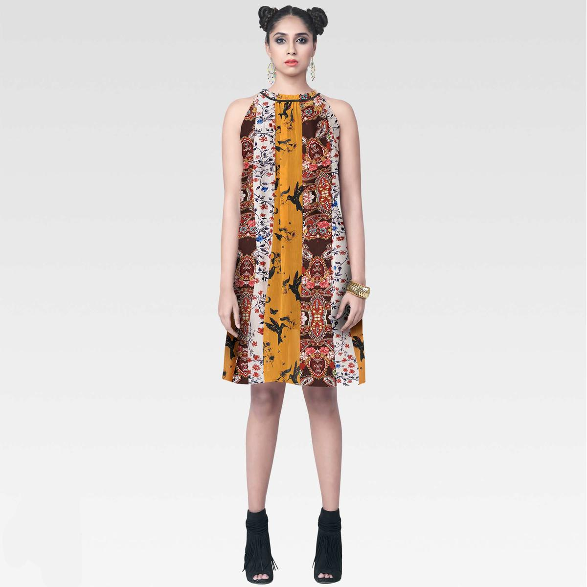 Imposing Multi Colored Casual Wear Printed Chiffon kurti