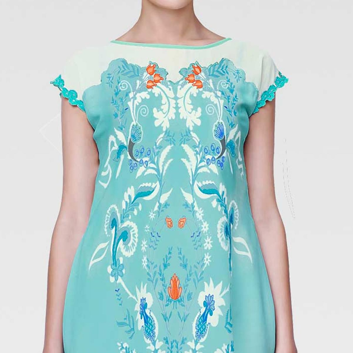 Engrossing Sky Blue Colored Casual Wear Printed Georgette Tunic