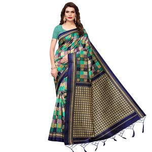 Adorable Green - Navy Blue Colored Festive Wear Printed Art Silk Saree