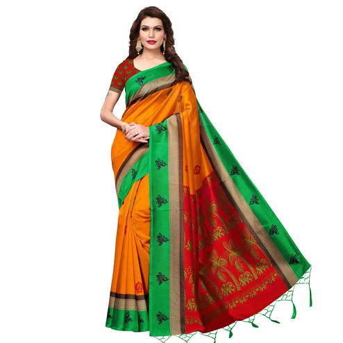 Gorgeous Orange Colored Festive Wear Printed Art Silk Saree