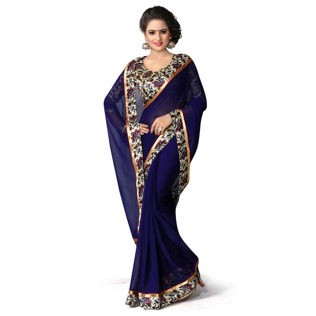 Dark Blue Pritned Border Work Saree
