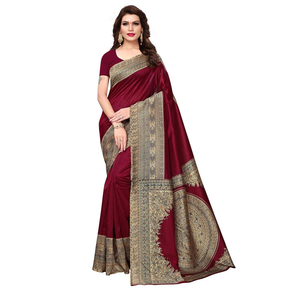 Stunning Maroon Colored Festive Wear Printed Art Silk Saree