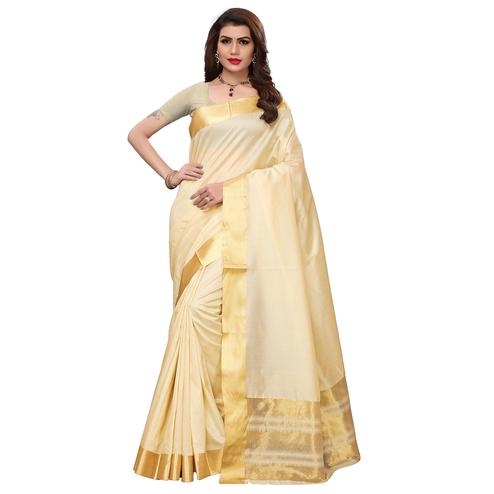 Blooming Off White Colored Festive Wear Printed Art Silk Saree