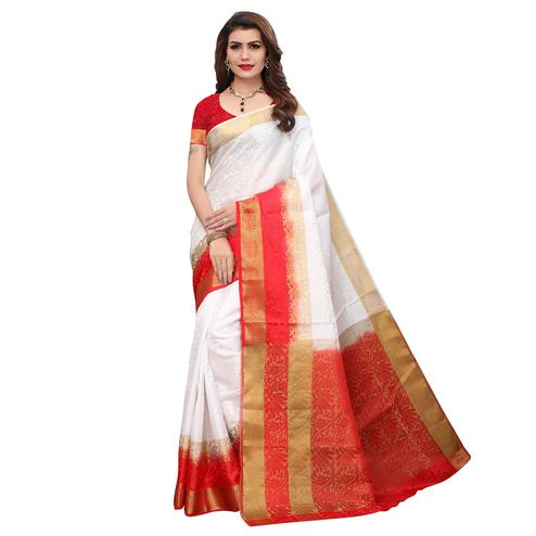 Intricate White Colored Festive Wear Printed Art Silk Saree