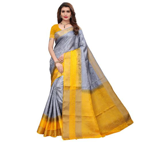 Desirable Grey Colored Festive Wear Printed Art Silk Saree