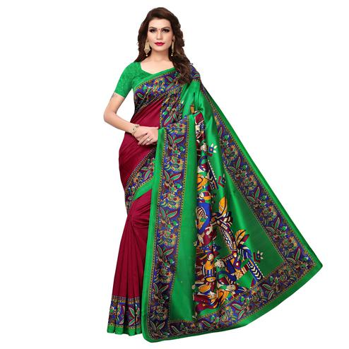 Demanding Maroon Colored Festive Wear Printed Art Silk Saree