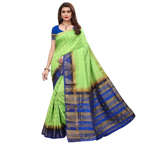 Pleasant Green Colored Festive Wear Printed Silk Saree