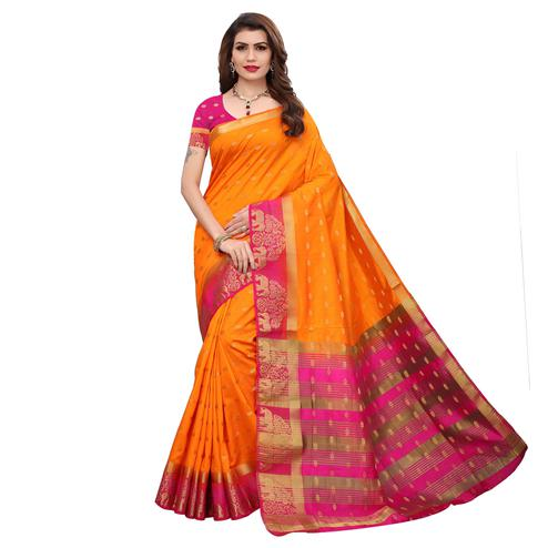 Refreshing Orange Colored Festive Wear Printed Silk Saree