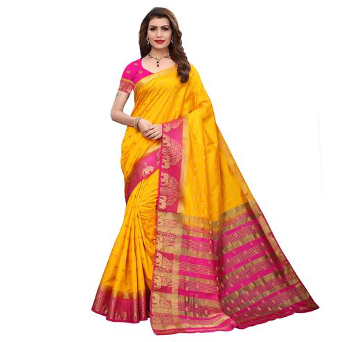 Elegant Yellow Colored Festive Wear Printed Silk Saree